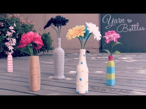 Diy Yarn Wrapped Bottle Amp Vase Room Decor How To Socraftastic Youtube