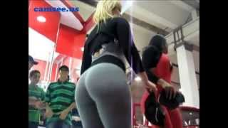 Curvy promo girls in spandex