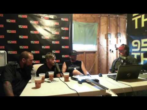 """Three Days Grace in the 95.7 The Rock booth at Rock Fest 2013!"""