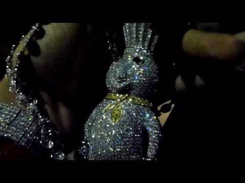 Part 3 -NIGHT SHOT-: 925 SILVER Custom Lab Diamond DOUGH BOY Pendant ! Lab Made Jewelry