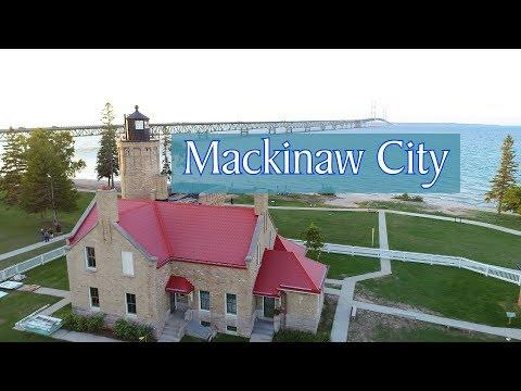 Aerial Tour of Mackinaw City, Michigan