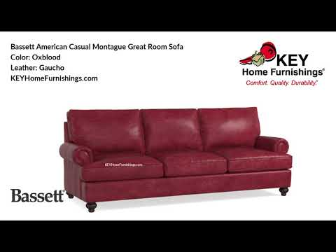 BassettAmerican Casual Montague Sofa Leather Covers | Living Room Furniture Video | 2018