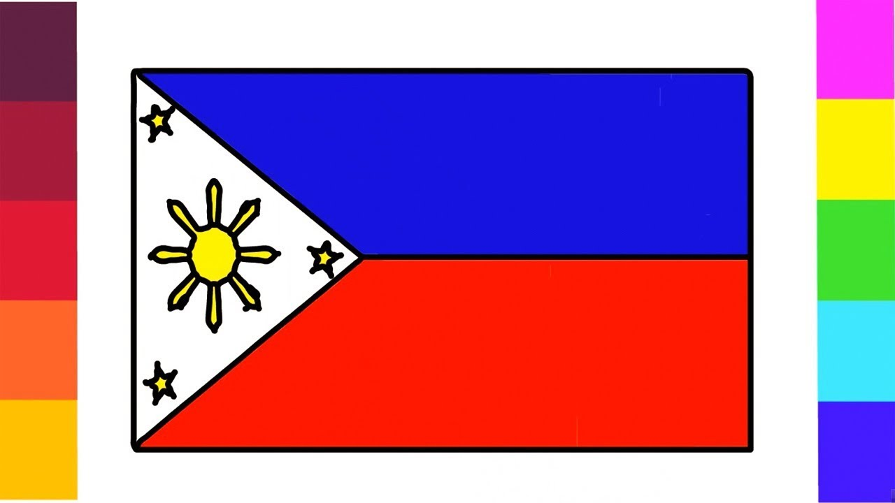 How to Draw Philippines flag Coloring for Kids Step by Step ...