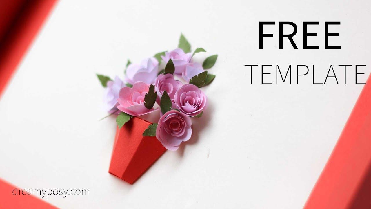 free pop up flower card templates