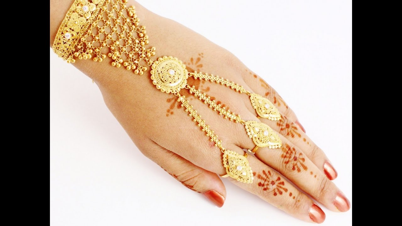 Gold Bracelets With Ring For Wedding Gold Jewellery Collection