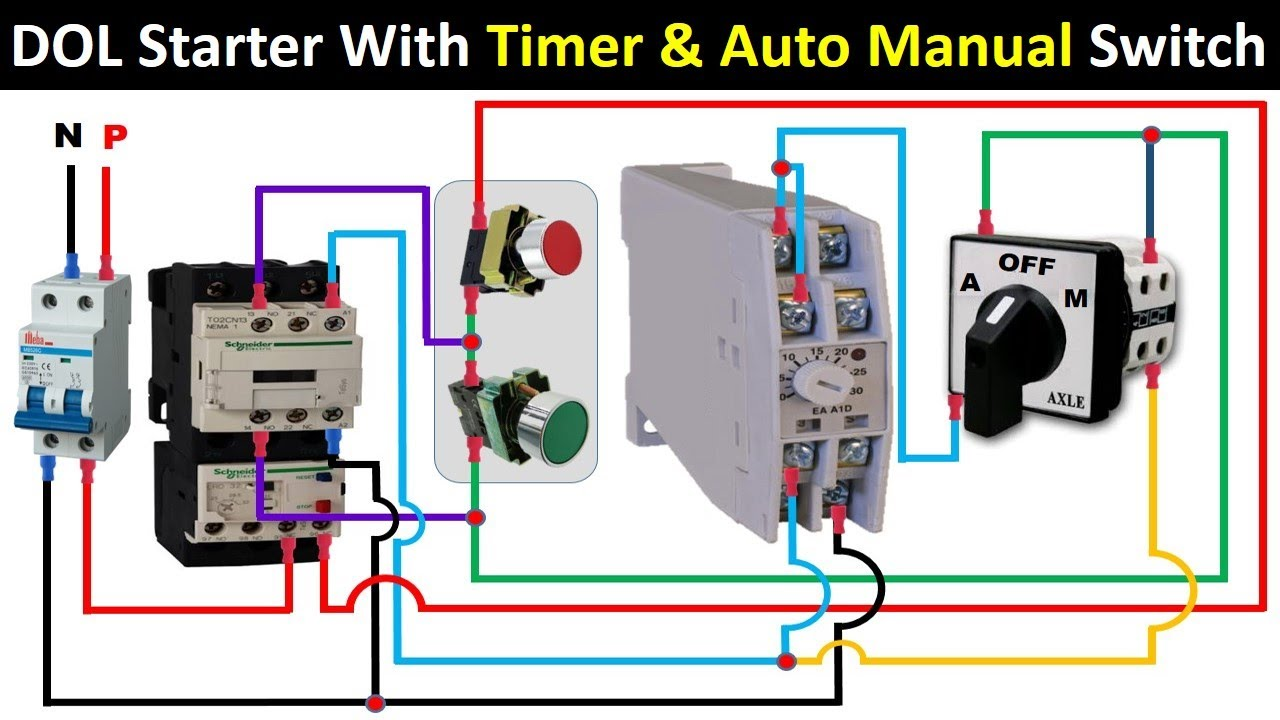 DOL Starter With Timer And Auto Manual Selector Switch   control wiring    Electrical Technician