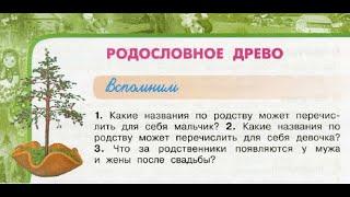 "Окружающий мир 3 класс ч.2.,Перспектива, с.28-31, тема урока ""Родословное древо"""