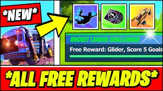 *ALL* Fortnite Rocket League CHALLENGES & FREE REWARDS in Fortnite (Skins, Gliders, Music Pack)