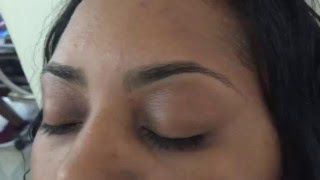 Eyebrow Waxing my client. She\'s been coming to my shop 5 years already