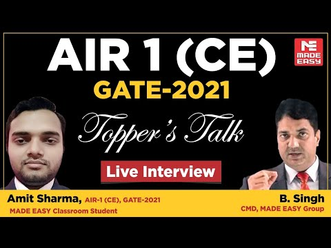 GATE 2021 Topper   Amit Sharma   AIR-1   CE   Topper's Talk   MADE EASY Student   With B. Singh Sir