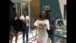 Karen Igho dances with efe and marvis
