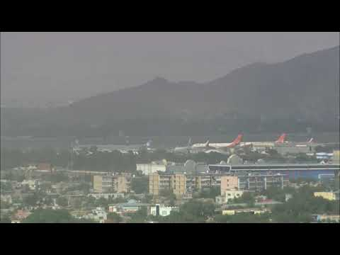 LIVE: A view of Kabul airport as people try to leave Afghanistan