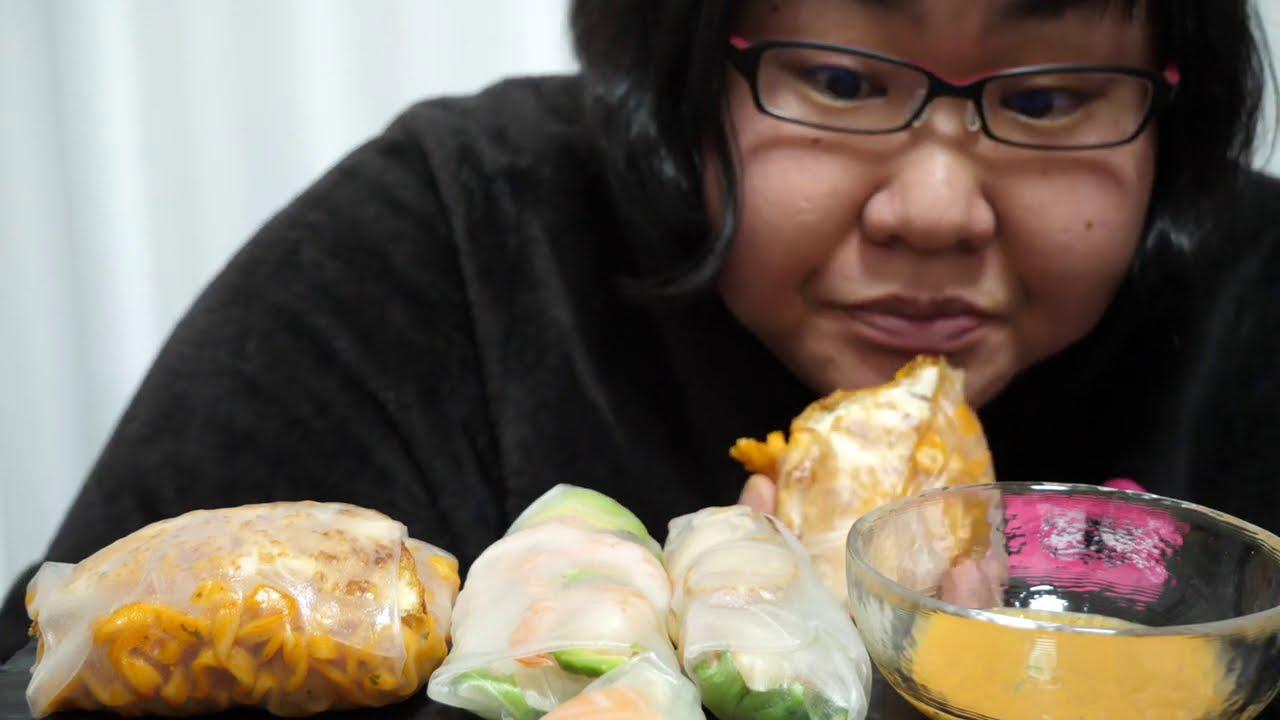 咀嚼音 ASMR 生春巻きRau spring roll プルダック seafood vegetable
