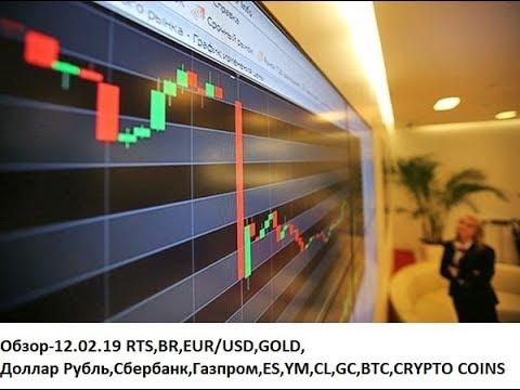 Обзор-12.02.19 RTS,BR,EUR/USD,GOLD, Доллар Рубль,Сбербанк,Газпром,ES,YM,CL,GC,BTC,CRYPTO COINS