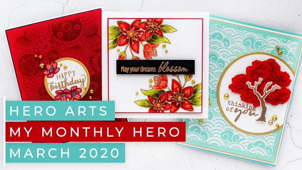 Hero Arts March 2020 My Monthly Hero Kit Asian Greeting Cards Video Blog Hop Giveaway Yana Smakula