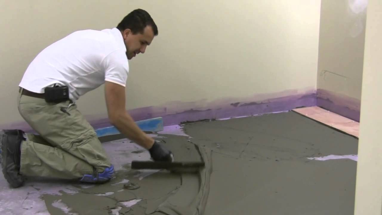 How to float and prepare floor for tile installation youtube doublecrazyfo Image collections