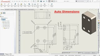 How to Apply Auto Dimensions in SolidWorks Drawing
