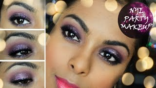 New Years Eve Party Makeup : FULL FACE Glamour, Glitter, Purple, Smokey Eyes (dark indian skin)