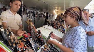 ЧУСТ Знаменитые ЧУСТСКИЕ НОЖИ Необычный восточный базар в Узбекистане Птичий рынок