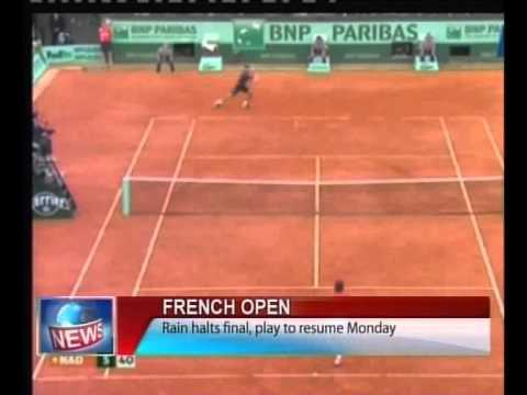 French Open: Rain halts final, play to resume Monday