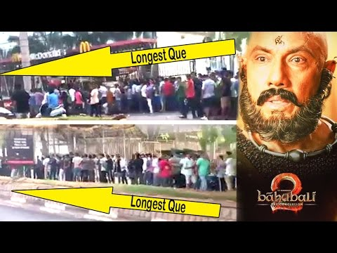 Baahubali 2 CRAZY Fans Longest Que For Booking Advanced Tickets At Prasad Cinema In Hyderabad