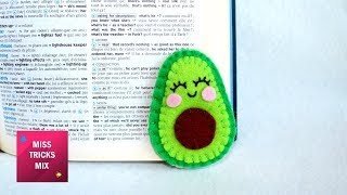 Cheerful Felt Avocado Corner Bookmark / Supplies for Back to School.