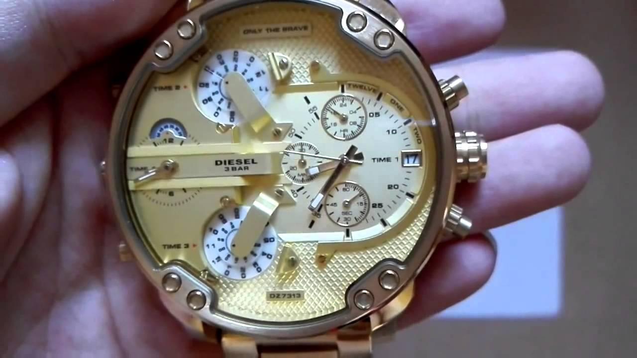 28e97caee4c5 Diesel Mr Daddy 20 57mm DZ7313 Gold Watch Watches Relogio Relojes - YouTube