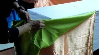Making Table Skirt Basic Twist Style With Two Color Clothes Part 1