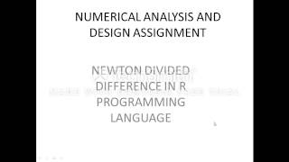 Newton's divided difference formula in R programming language