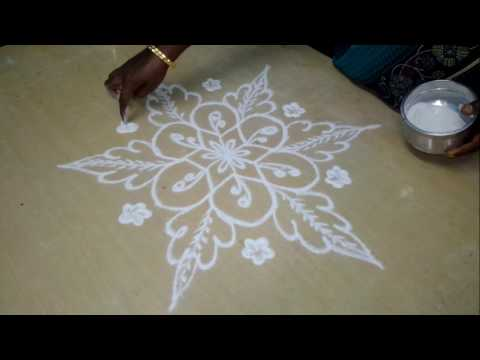 Simple Flower Kollam With Dots/ Simple muggulu/ Easy Rangoli Designs/பூ கோலம் /simple rangoli kollam