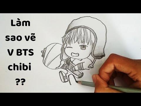 Vẽ BTS chibi V – How to draw BTS chibi