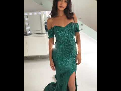 The stunning Abyss by Abby Boston green sequin bardot prom dress ...