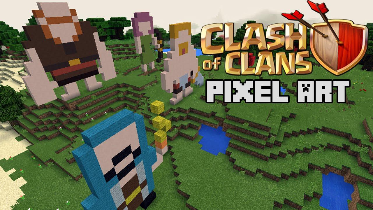 clash of clans pixel art in minecraft pe youtube