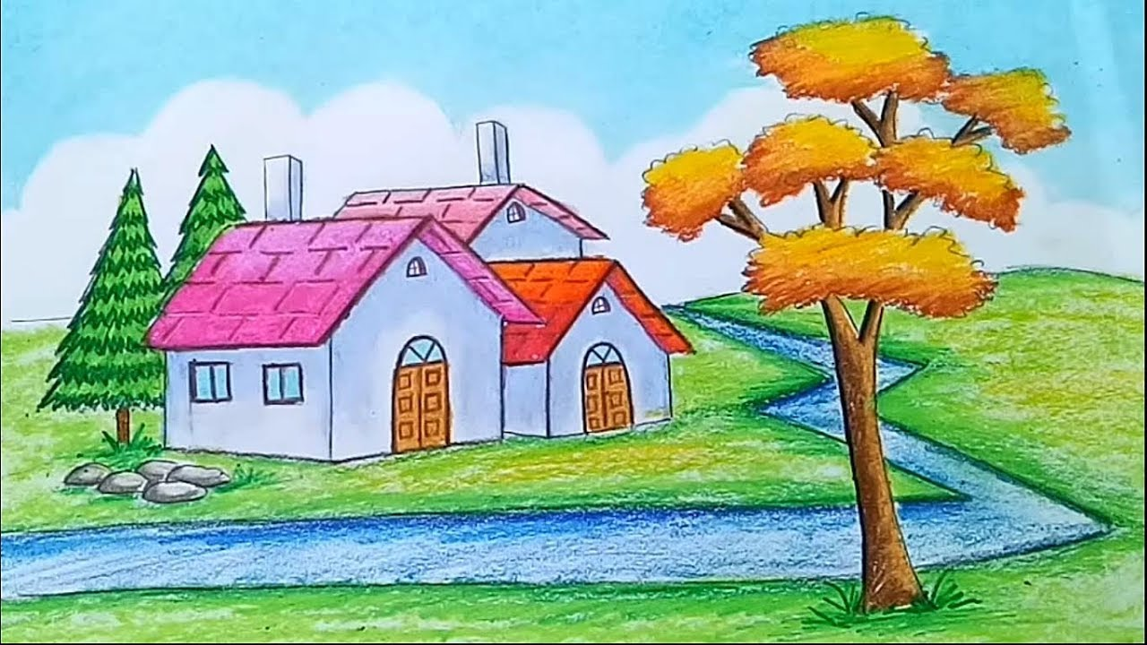 How to draw Landscape || Scenery of beautiful nature ...