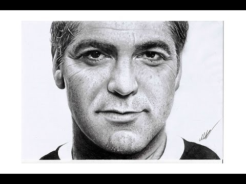 George Clooney Hyperrealistic portrait pencil art ( speed drawing )