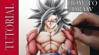 How to Draw - SSJ4 GOKU | TUTORIAL | + Colouring Skin tutorial