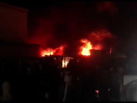 بالفيديو .. اللحظات الاولى لحريق مستشفى الحسين في ذي قار