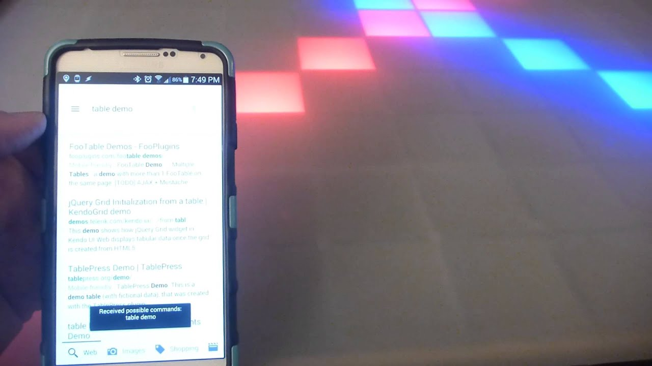 led coffee table voice commands demo youtube
