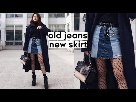 be7bf67c5f ✂️DIY Old Jeans to Color Blocked Denim Skirt
