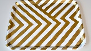 Home decor: DIY Gold and White Chevron tray - Natalie's Creations