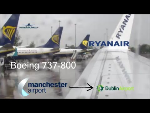 Ryanair 737-800 Wet and Windy flight from Manchester - Dublin