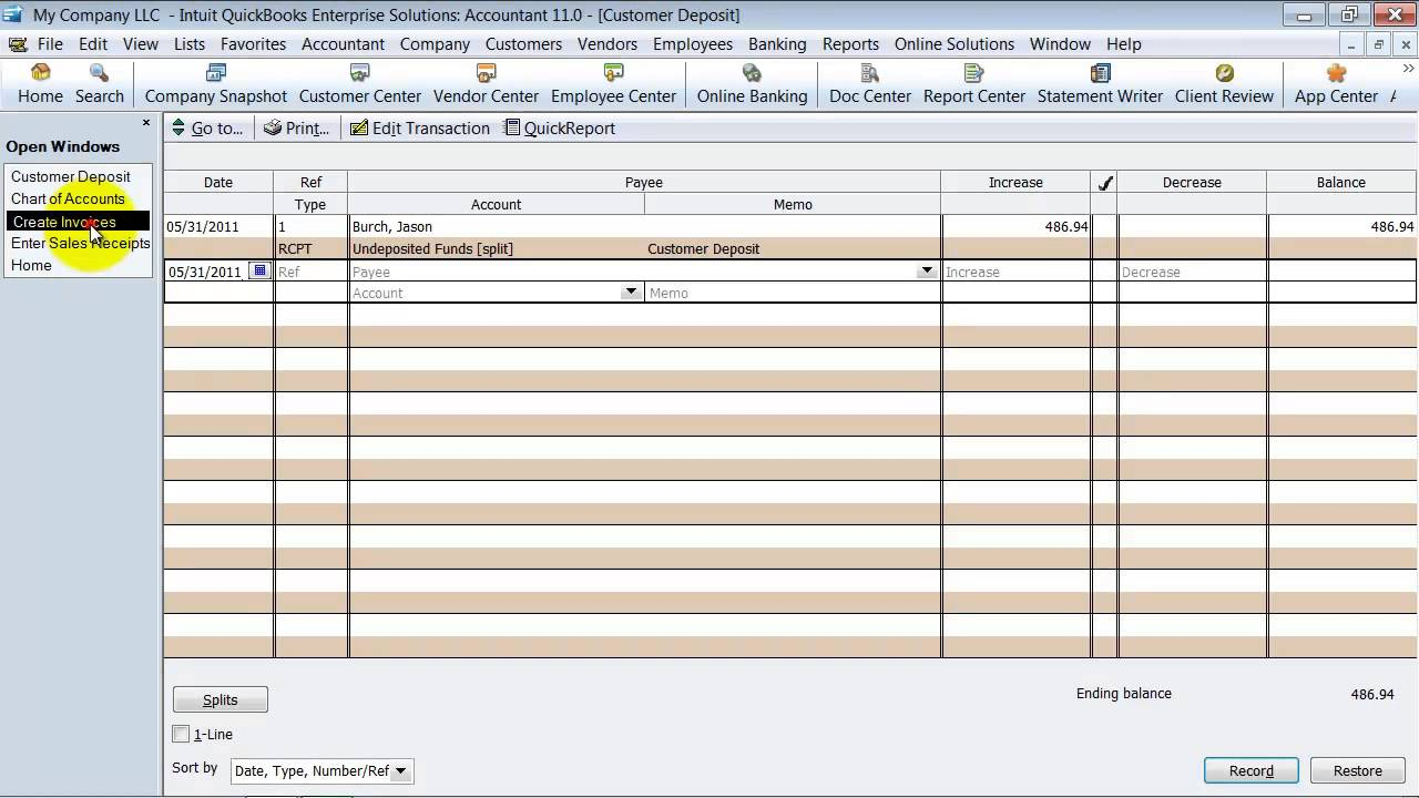 QuickBooks Training Customer Deposits And Down Payments YouTube - Quickbooks online invoice deposit