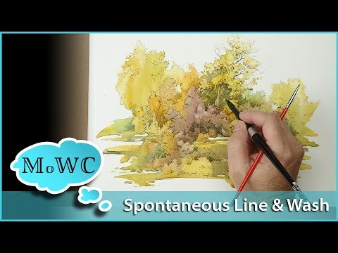 Spontaneous Painting, Ink Line over Wash – InkTober