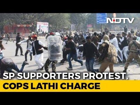 Akhilesh Yadav Stopped At Airport, Lathicharge On Samajwadi Protesters