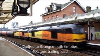 Freight Trains at Dumfries Station, Southwest Scotland, Feb 2016. Part 1