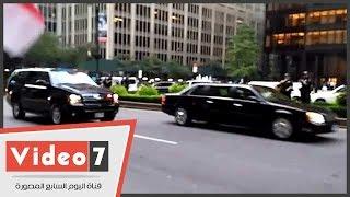 السيسى يغادر مقر الأمم المتحدة.. والجالية المصرية تستقبله بالهتاف