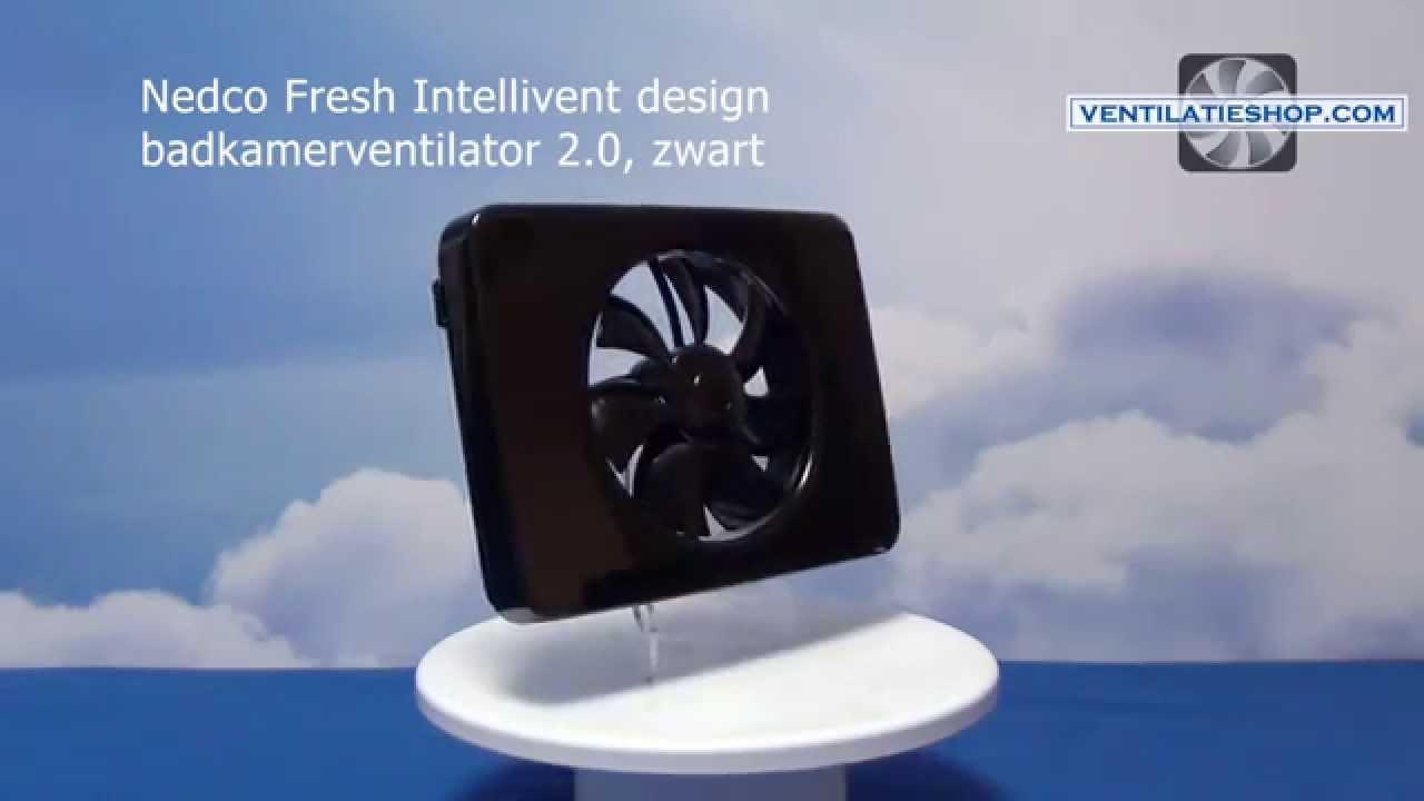 nedco fresh intellivent design badkamerventilator 2.0, zwart, Badkamer