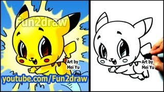 How to Draw Pokemon - Pikachu - Fun2draw style