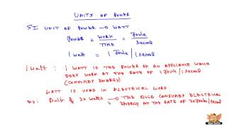 Units of Power and Definition of Watt