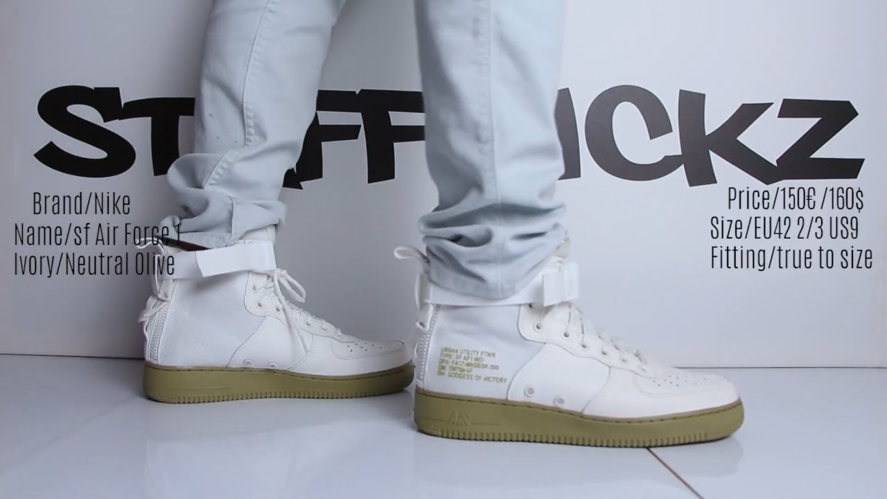 1a928319b264 On Feet - Nike Air Force 1 SF White Olive - YouTube